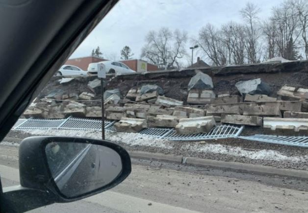 Close view of the retaining wall failure at the McDonald's restaurant