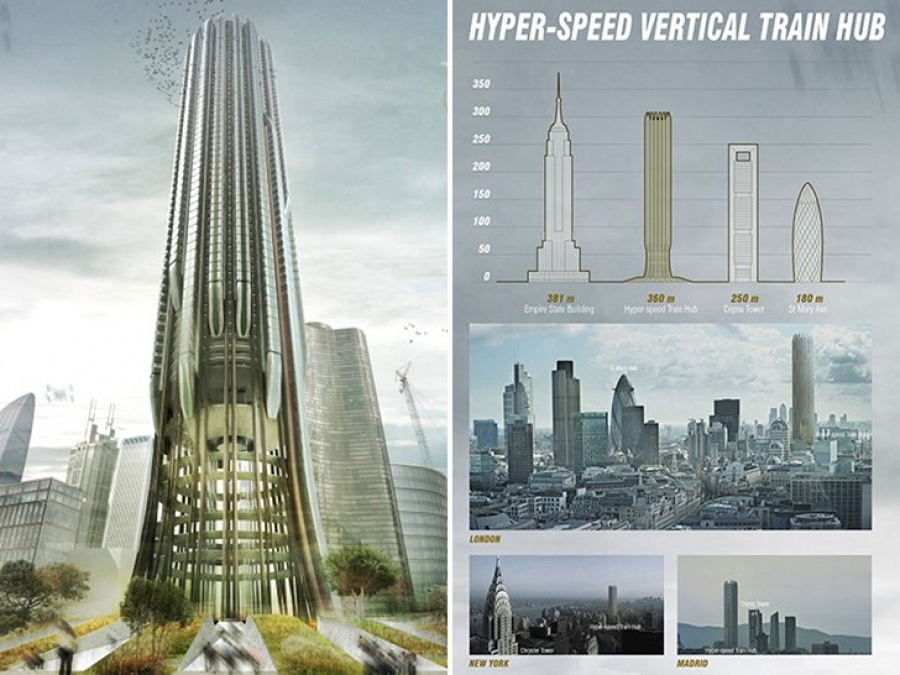 The Hyper-Speed Vertical Train Hub concept received honorable mention from the competition judges