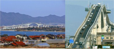 The bridge as seen from a distance (left) and when photographed facing the traffic lanes (right) !