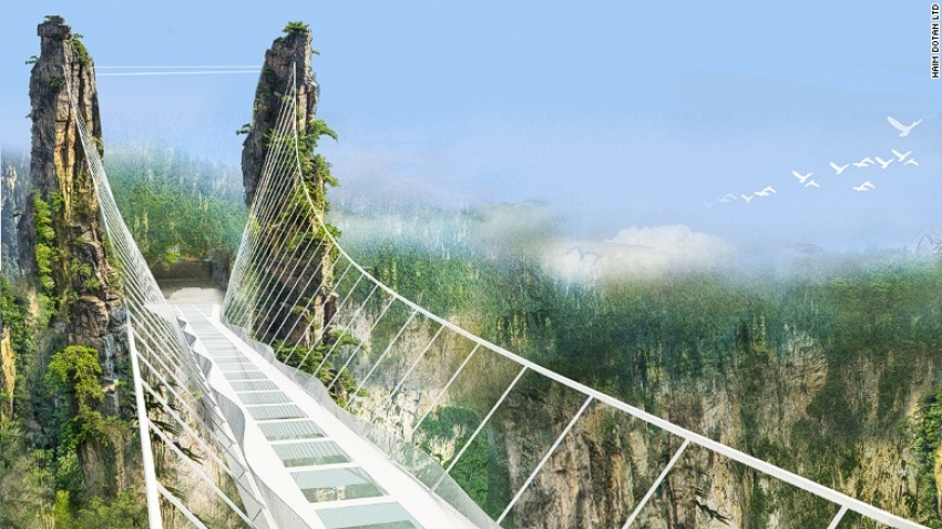 Zhangjiajie Grand Canyon is set to open the worl's highest and longest glass-bottom bridge in July.