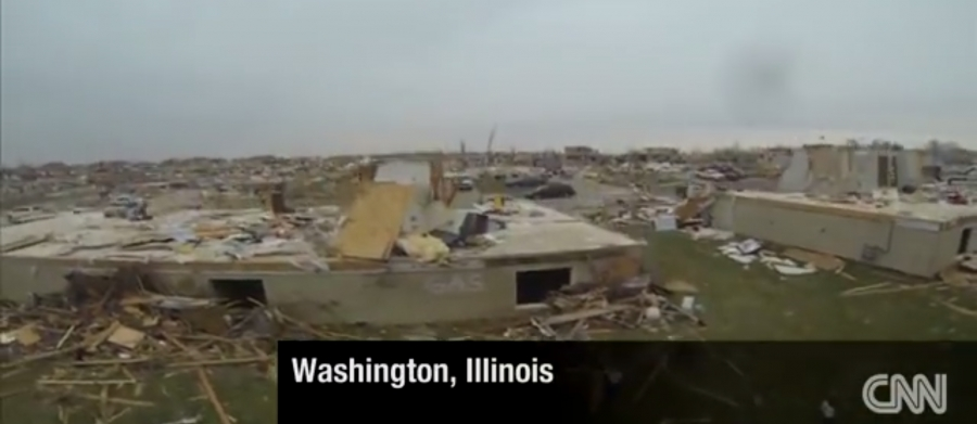 VIDEO: View of Tornado Destruction in Illinois