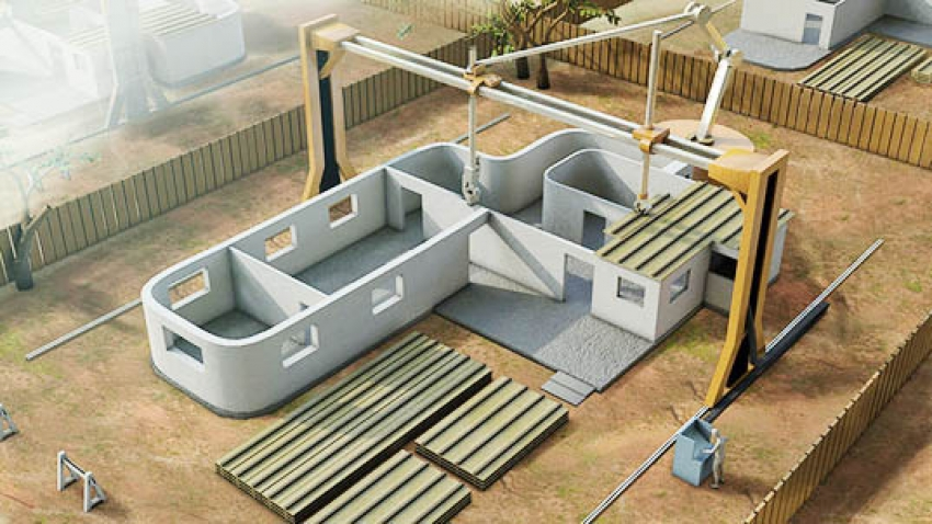 3D concrete printer could construct an entire two-story house in a day while drastically reducing material and energy consumption