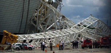 Two people died when part of the stadium collapsed on Wednesday