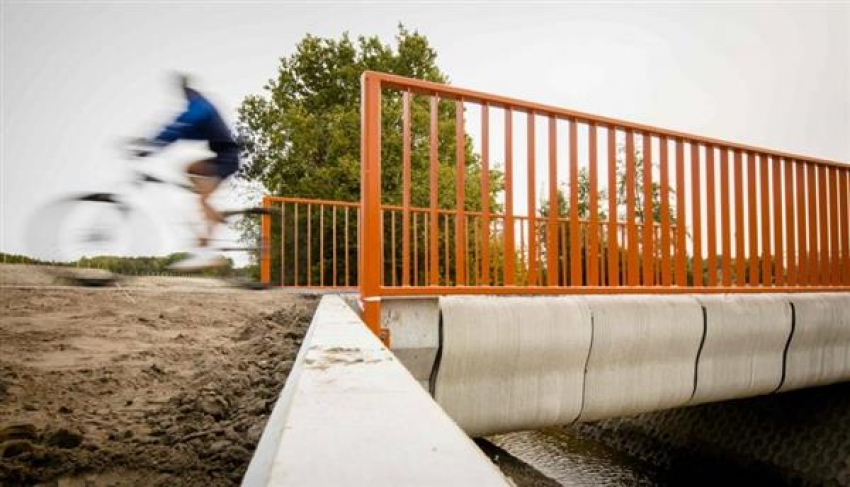 World's first 3D-printed concrete cycle bridge opens in the Netherlands