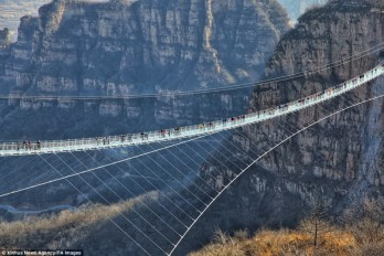 View from above: World's longest glass bridge just opened in Hebei, China