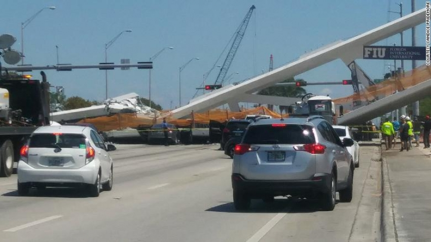 Florida pedestrian bridge collapses 5 days after its installation