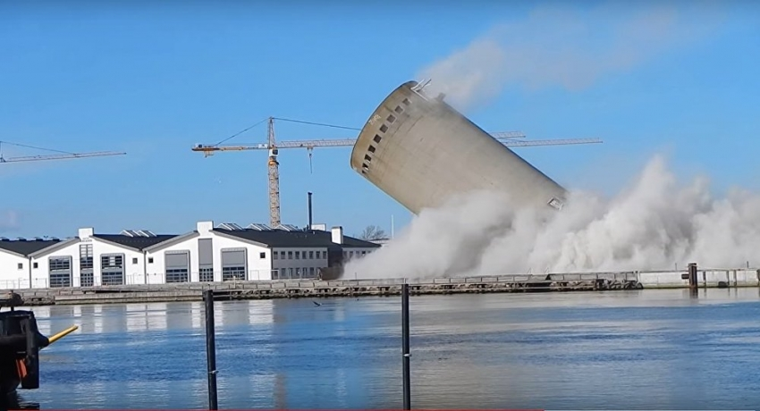 Defective silo demolition in Denmark results in it falling on opposite direction