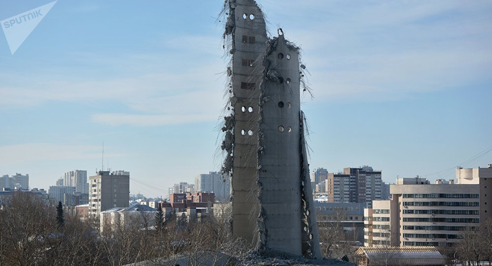TV tower demolition Russia3