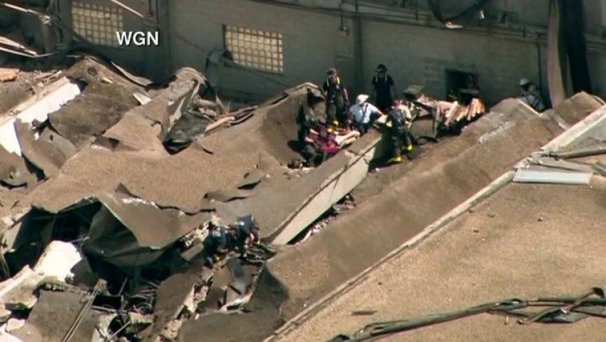 Building's roof collapse Chicago