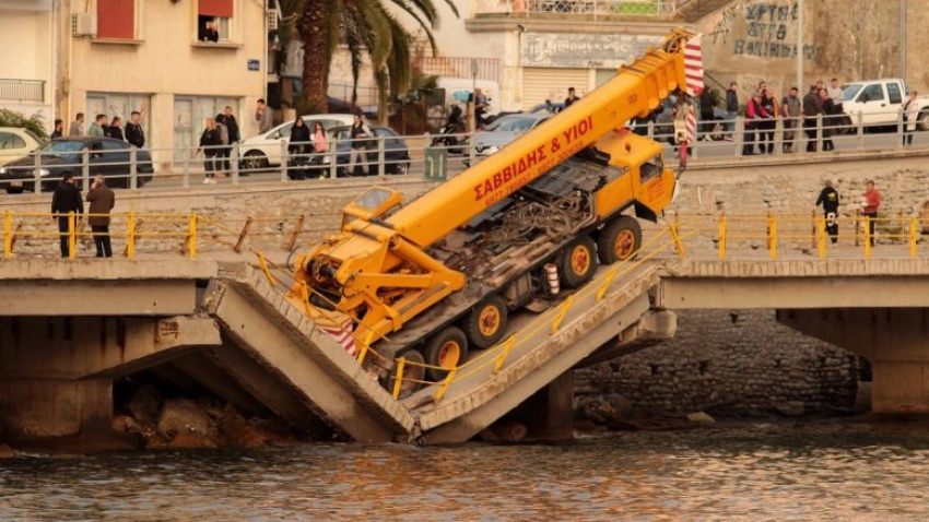 Partial collapse of road bridge in Kavala city, Greece