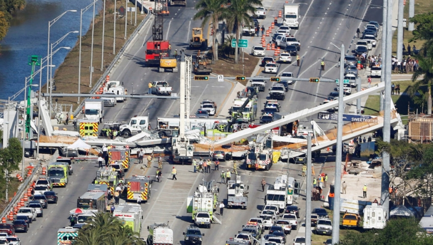 Pedestrian bridge collapse in Miami