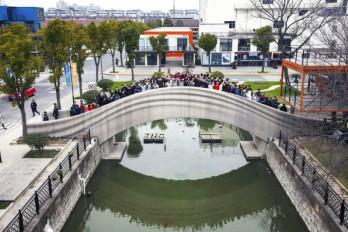 Longest 3-D printed concrete bridge worldwide opened in Shanghai