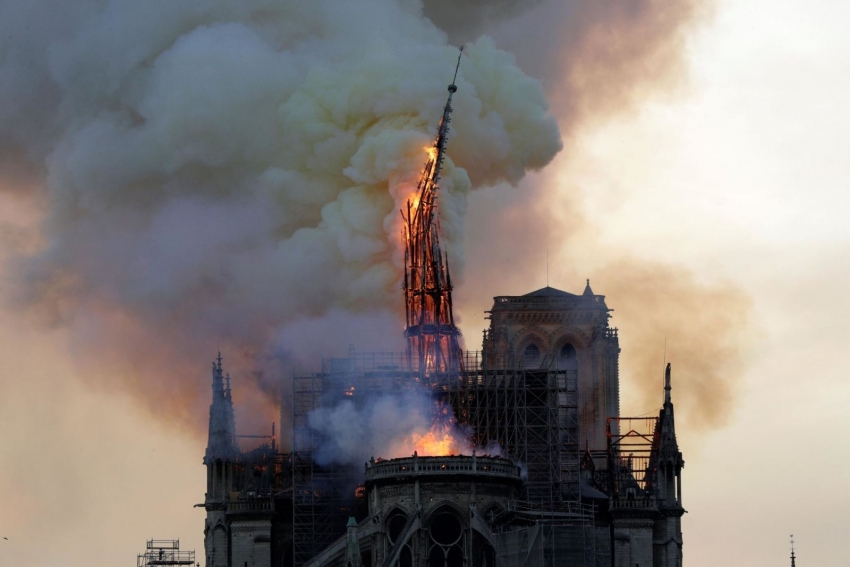 The spire of the landmark cathedral collapses-Source: Cnn.com
