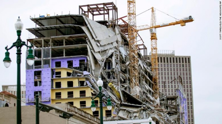 The cranes at the collapsed Hard Rock Hotel in New Orleans to be demolished