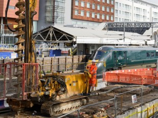 Keller UK working close to the platforms at Hayes and Harlington Station