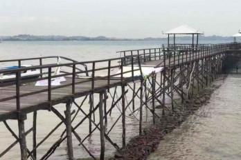 Wooden bridge collapse in Indonesia