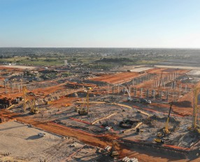 Aerial view of the site showing Franki's three piling rigs