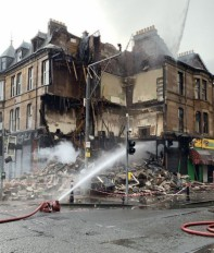 Apartment building collapses due to fire in Scotland